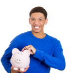 student with a piggy bank